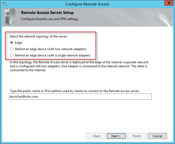 Windows Server 2012 DirectAccess Network Topology
