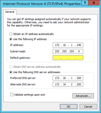 Network Interface Configuration for Multihomed Windows Server 2012