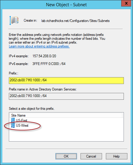 Active Directory IP Subnets for DirectAccess Clients | Richard M