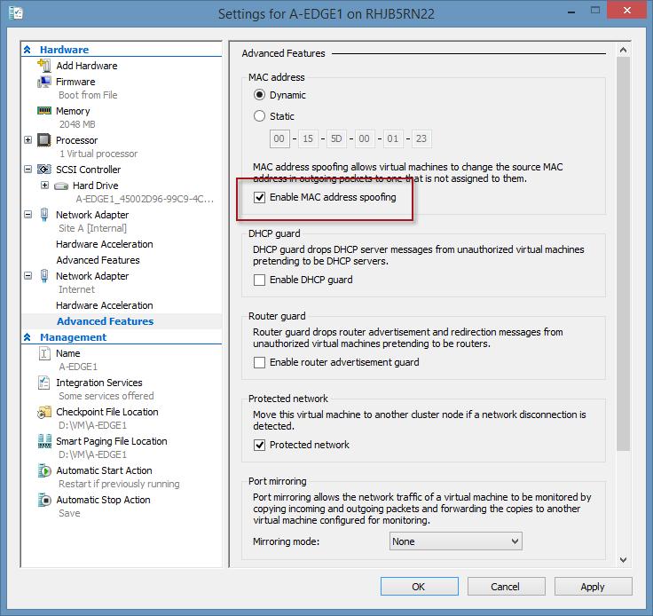 DirectAccess Configuration Load Error after Enabling NLB in Hyper-V