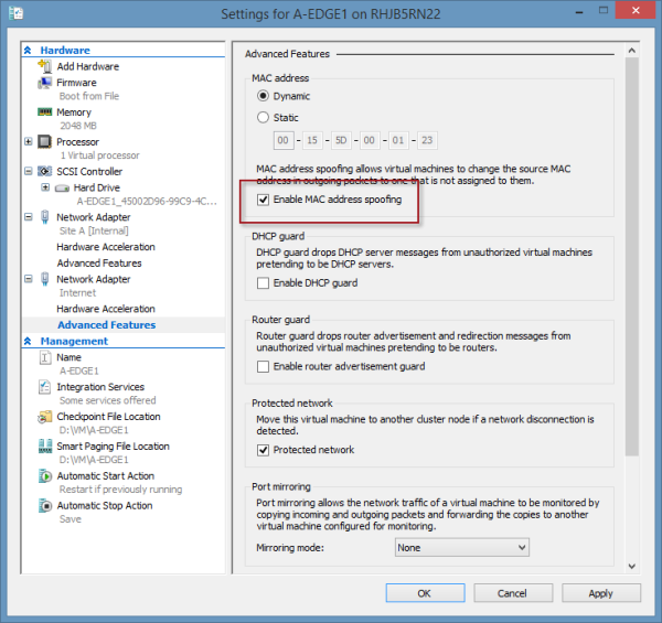 DirectAccess Configuration Load Error after Enabling NLB in Hyper-V