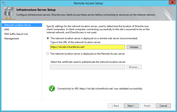 DirectAccess Network Location Server Guidance