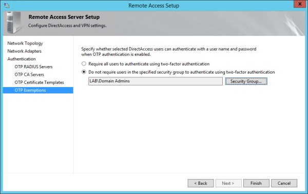 Configure DirectAccess with OTP Authentication