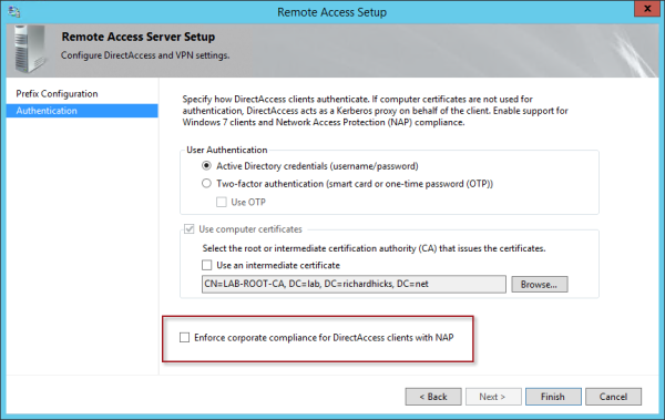 DirectAccess, Windows 10, and NAP
