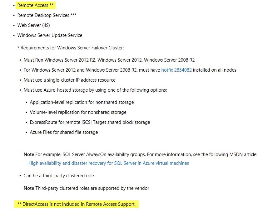 DirectAccess No Longer Supported in Microsoft Azure