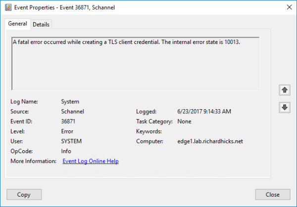 DirectAccess Reporting Fails after Disabling TLS 1.0