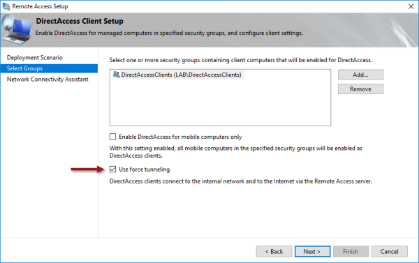 DirectAccess Force Tunneling and Proxy Server Configuration