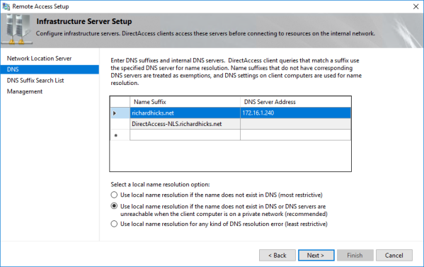 DirectAccess NRPT Configuration with Split DNS