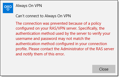 Troubleshooting Always On VPN Errors 691 and 812