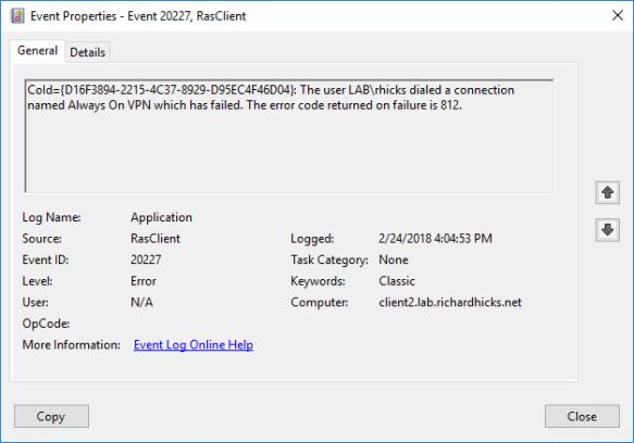 Troubleshooting Always On VPN Errors 691 and 812 | Richard M