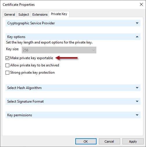 Always On VPN ECDSA SSL Certificate Request for SSTP