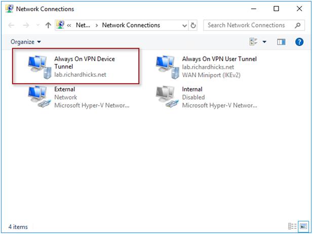 Always On VPN Device Tunnel Missing in Windows 10 UI