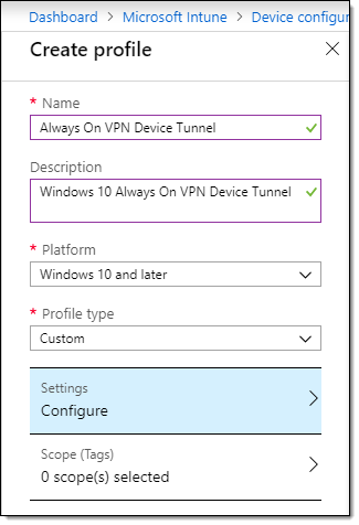 Always On VPN Device Tunnel Configuration using Intune