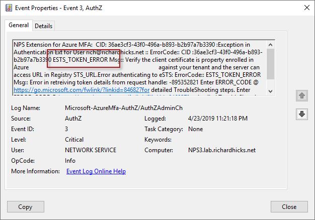Always On VPN and Azure MFA ESTS Token Error | Richard M