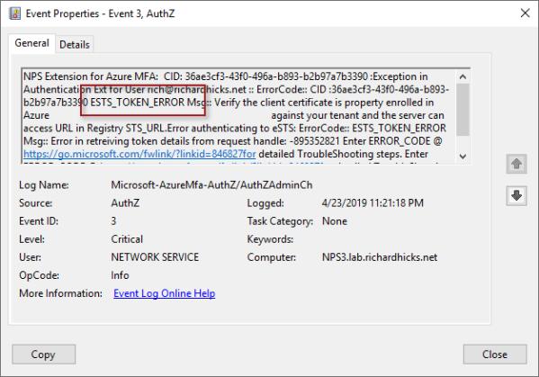 Always On VPN and Azure MFA ESTS Token Error