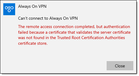 Troubleshooting Always On VPN Error Code 864