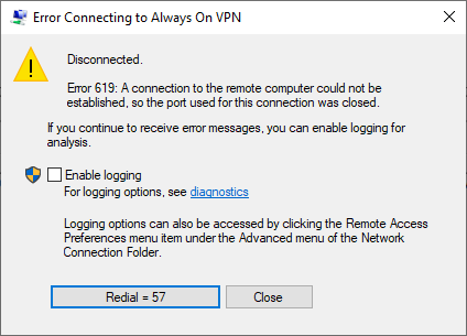 Always On VPN Bug in Windows 10 2004