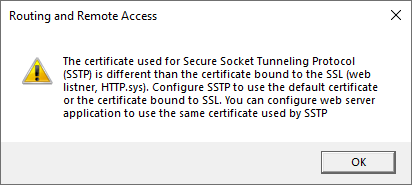 Always On VPN SSTP Certificate Binding Error